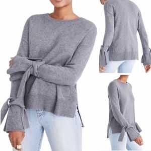madewell | tie cuff pullover gray sweater sz S